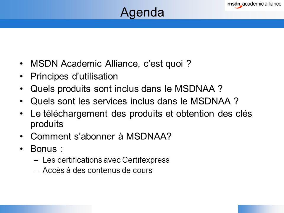 Agenda MSDN Academic Alliance, c'est quoi .