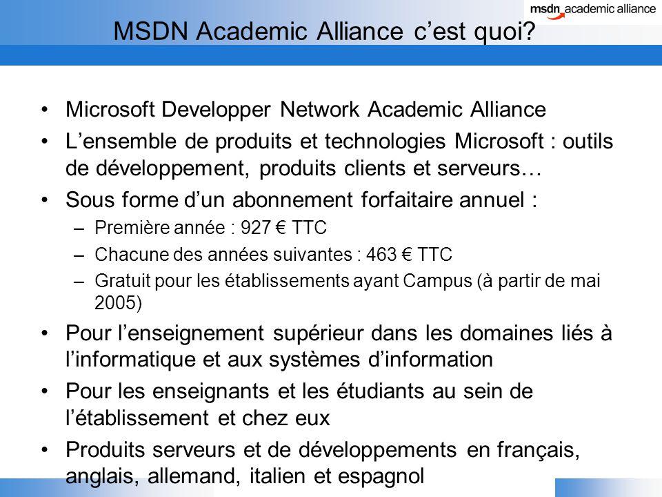 MSDN Academic Alliance c'est quoi.