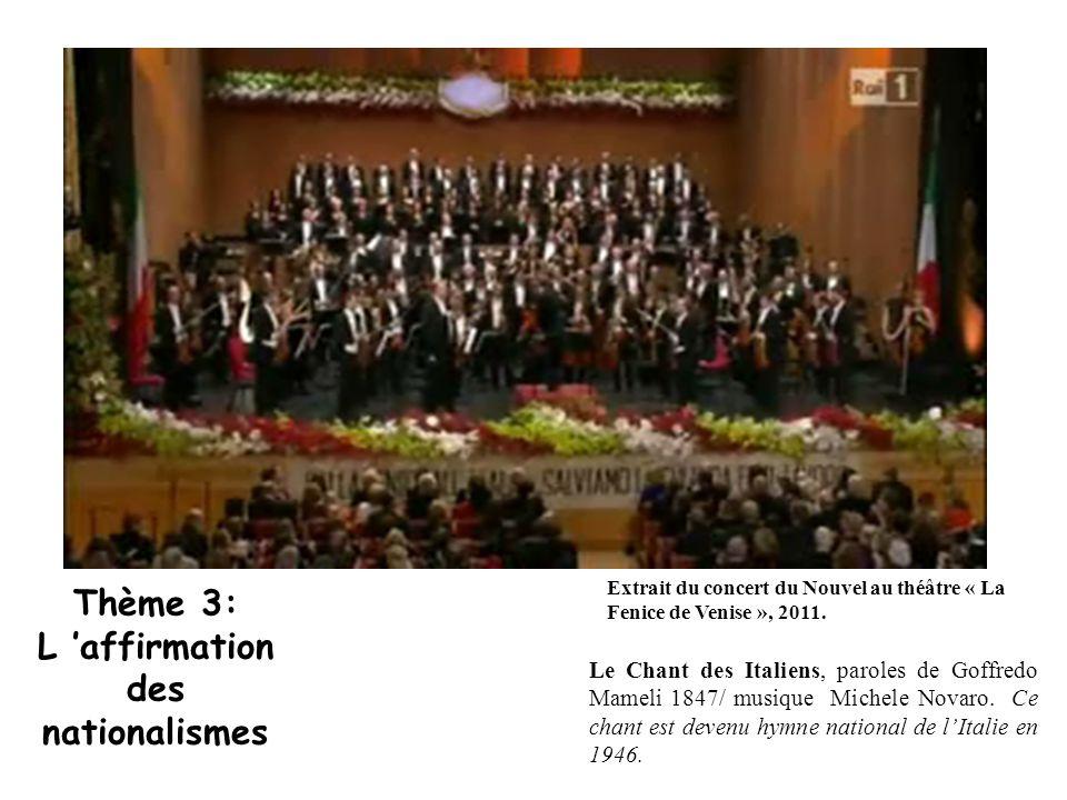 Le Chant des Italiens, paroles de Goffredo Mameli 1847/ musique Michele Novaro. Ce chant est devenu hymne national de l'Italie en 1946. Extrait du con