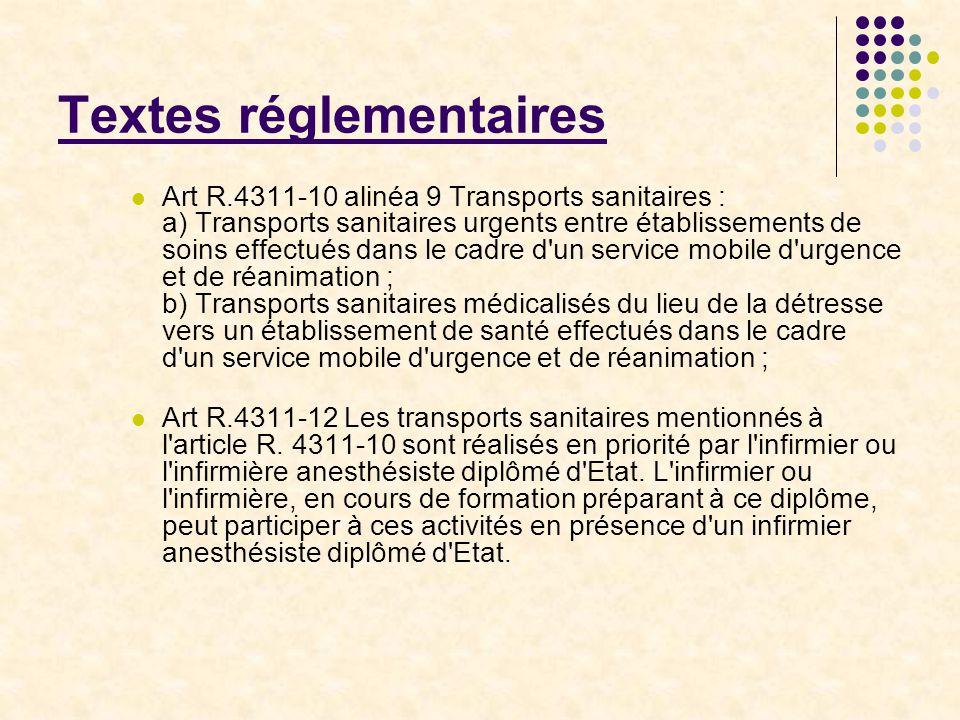 Textes réglementaires Art R.4311-10 alinéa 9 Transports sanitaires : a) Transports sanitaires urgents entre établissements de soins effectués dans le