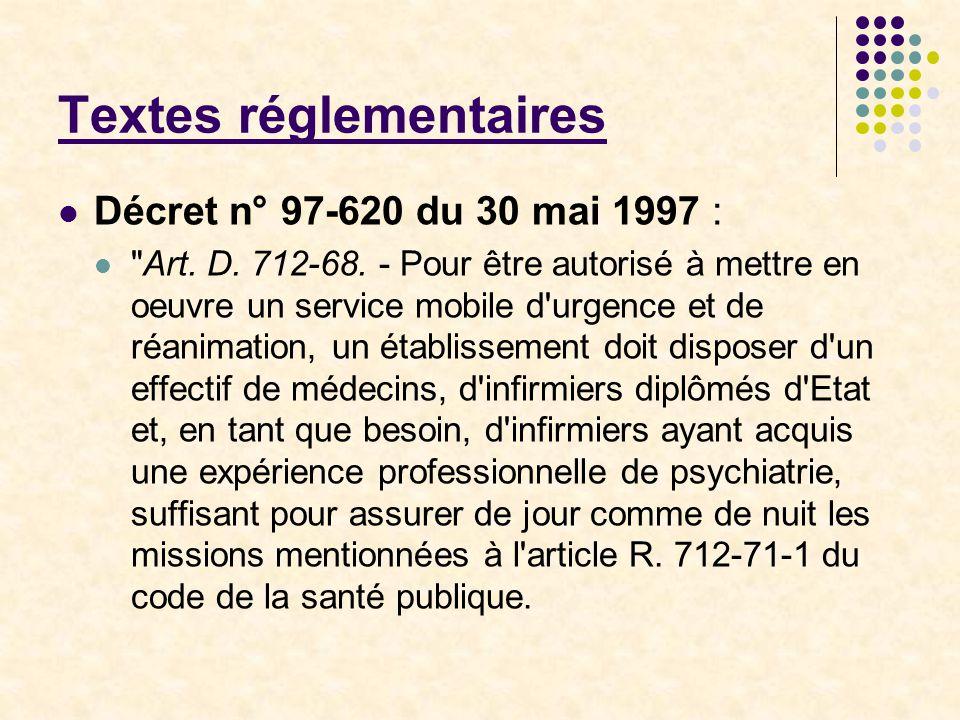 Textes réglementaires Décret n° 97-620 du 30 mai 1997 :