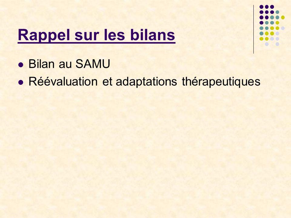 Rappel sur les bilans Bilan au SAMU Réévaluation et adaptations thérapeutiques