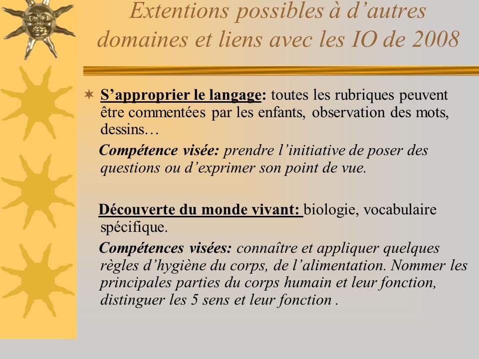 Extentions possibles à d'autres domaines et liens avec les IO de 2008  S'approprier le langage: toutes les rubriques peuvent être commentées par les