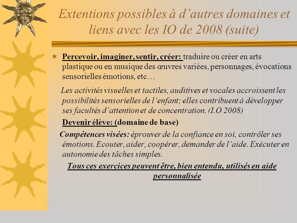 Extentions possibles à d'autres domaines et liens avec les IO de 2008 (suite)  Percevoir, imaginer, sentir, créer: traduire ou créer en arts plastiqu