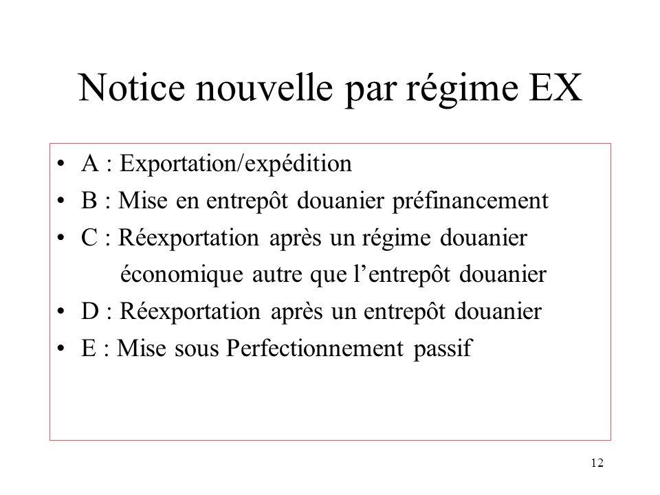 12 Notice nouvelle par régime EX A : Exportation/expédition B : Mise en entrepôt douanier préfinancement C : Réexportation après un régime douanier économique autre que l'entrepôt douanier D : Réexportation après un entrepôt douanier E : Mise sous Perfectionnement passif