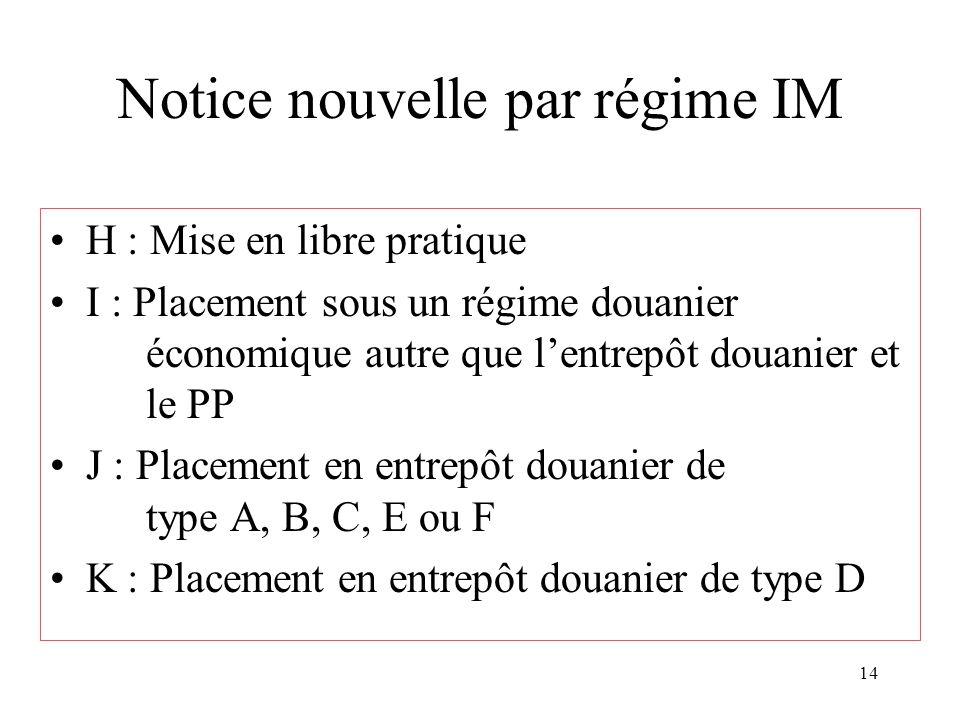 14 Notice nouvelle par régime IM H : Mise en libre pratique I : Placement sous un régime douanier économique autre que l'entrepôt douanier et le PP J : Placement en entrepôt douanier de type A, B, C, E ou F K : Placement en entrepôt douanier de type D