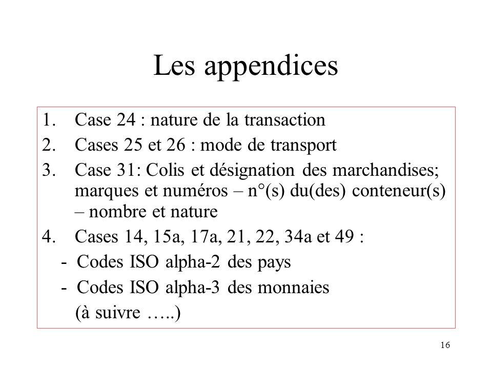 16 Les appendices 1.Case 24 : nature de la transaction 2.Cases 25 et 26 : mode de transport 3.Case 31: Colis et désignation des marchandises; marques et numéros – n°(s) du(des) conteneur(s) – nombre et nature 4.Cases 14, 15a, 17a, 21, 22, 34a et 49 : - Codes ISO alpha-2 des pays - Codes ISO alpha-3 des monnaies (à suivre …..)
