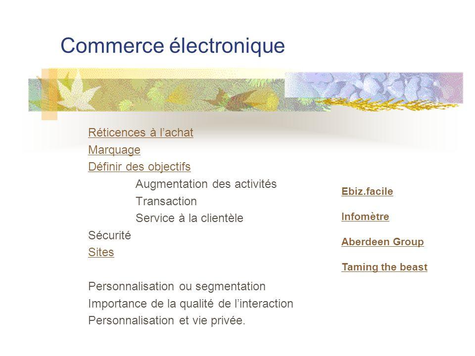 Commerce électronique Réticences à l'achat Marquage Définir des objectifs Augmentation des activités Transaction Service à la clientèle Sécurité Sites Personnalisation ou segmentation Importance de la qualité de l'interaction Personnalisation et vie privée.