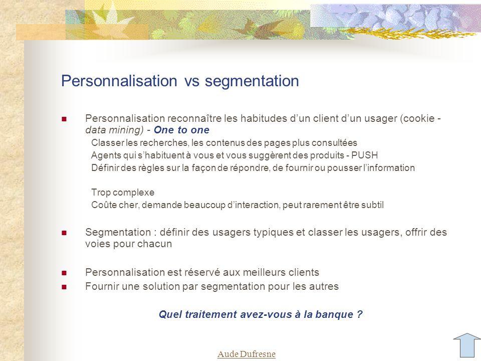 Aude Dufresne Personnalisation vs segmentation Personnalisation reconnaître les habitudes d'un client d'un usager (cookie - data mining) - One to one Classer les recherches, les contenus des pages plus consultées Agents qui s'habituent à vous et vous suggèrent des produits - PUSH Définir des règles sur la façon de répondre, de fournir ou pousser l'information Trop complexe Coûte cher, demande beaucoup d'interaction, peut rarement être subtil Segmentation : définir des usagers typiques et classer les usagers, offrir des voies pour chacun Personnalisation est réservé aux meilleurs clients Fournir une solution par segmentation pour les autres Quel traitement avez-vous à la banque ?