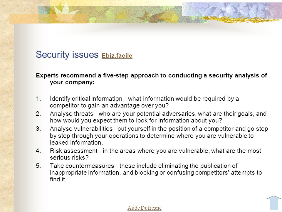 Aude Dufresne Security issues Ebiz.facile Ebiz.facile Experts recommend a five-step approach to conducting a security analysis of your company: 1.Iden