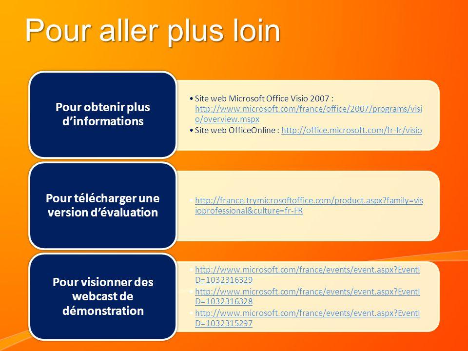 Pour aller plus loin Site web Microsoft Office Visio 2007 : http://www.microsoft.com/france/office/2007/programs/visi o/overview.mspx http://www.microsoft.com/france/office/2007/programs/visi o/overview.mspx Site web OfficeOnline : http://office.microsoft.com/fr-fr/visiohttp://office.microsoft.com/fr-fr/visio Pour obtenir plus d'informations http://france.trymicrosoftoffice.com/product.aspx?family=vis ioprofessional&culture=fr-FRhttp://france.trymicrosoftoffice.com/product.aspx?family=vis ioprofessional&culture=fr-FR Pour télécharger une version d'évaluation http://www.microsoft.com/france/events/event.aspx?EventI D=1032316329http://www.microsoft.com/france/events/event.aspx?EventI D=1032316329 http://www.microsoft.com/france/events/event.aspx?EventI D=1032316328http://www.microsoft.com/france/events/event.aspx?EventI D=1032316328 http://www.microsoft.com/france/events/event.aspx?EventI D=1032315297http://www.microsoft.com/france/events/event.aspx?EventI D=1032315297 Pour visionner des webcast de démonstration