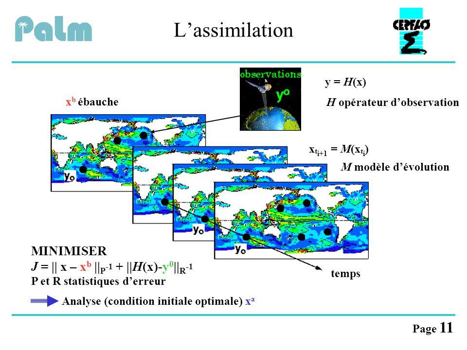 Page 11 L'assimilation x b ébauche temps x t i+1 = M(x t i ) M modèle d'évolution y = H(x) H opérateur d'observation MINIMISER J = || x – x b || P -1