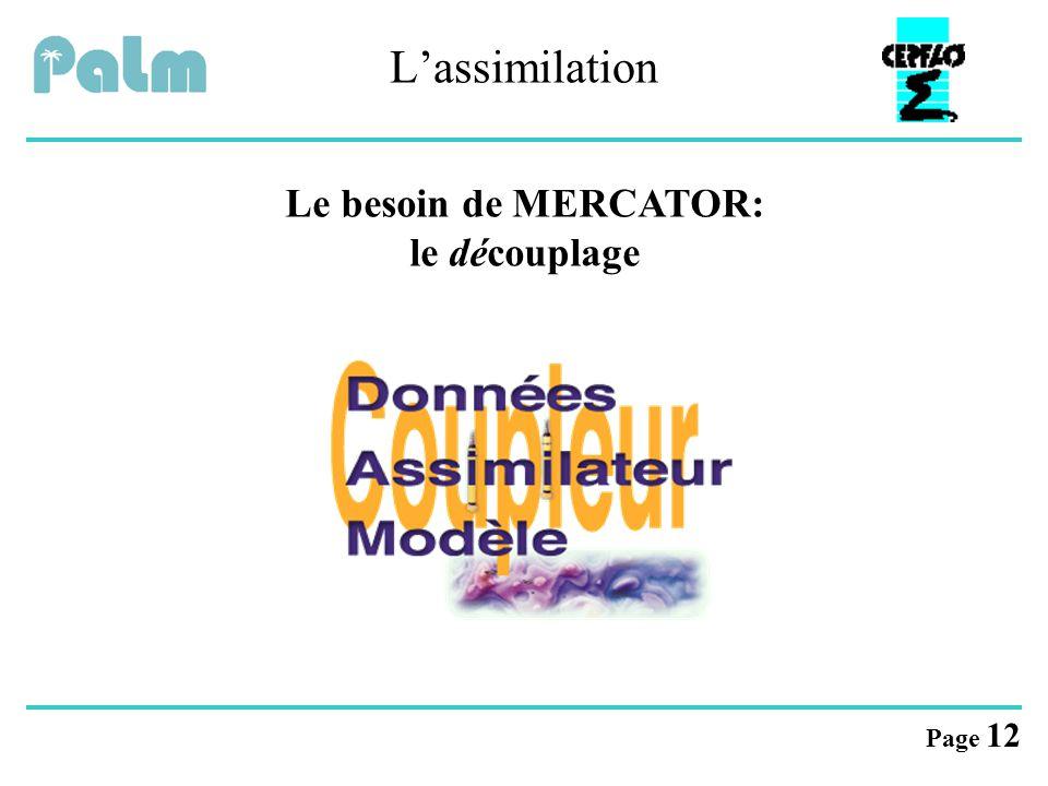 Page 12 L'assimilation Le besoin de MERCATOR: le découplage