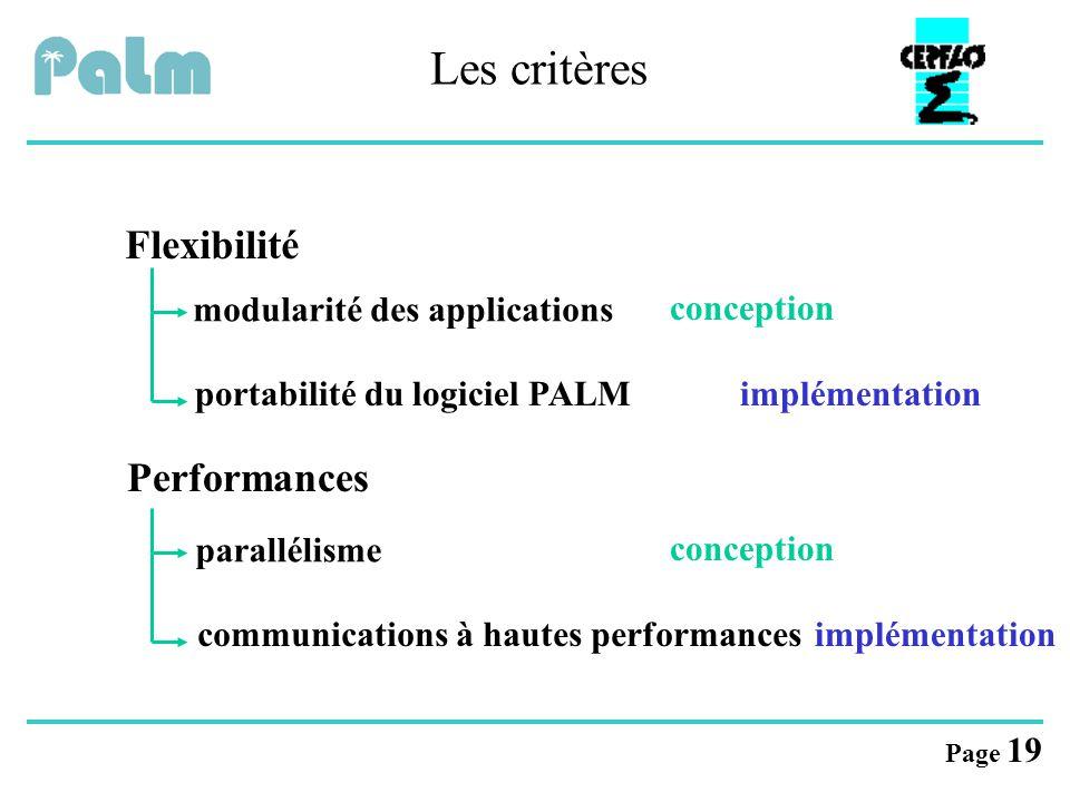 Page 19 implémentation Les critères Flexibilité Performances modularité des applicationsparallélisme portabilité du logiciel PALMcommunications à haut