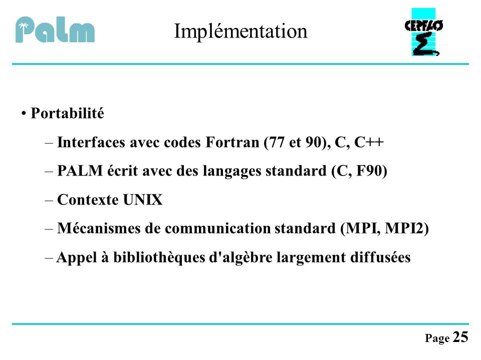 Page 25 Implémentation Portabilité – Interfaces avec codes Fortran (77 et 90), C, C++ – PALM écrit avec des langages standard (C, F90) – Contexte UNIX