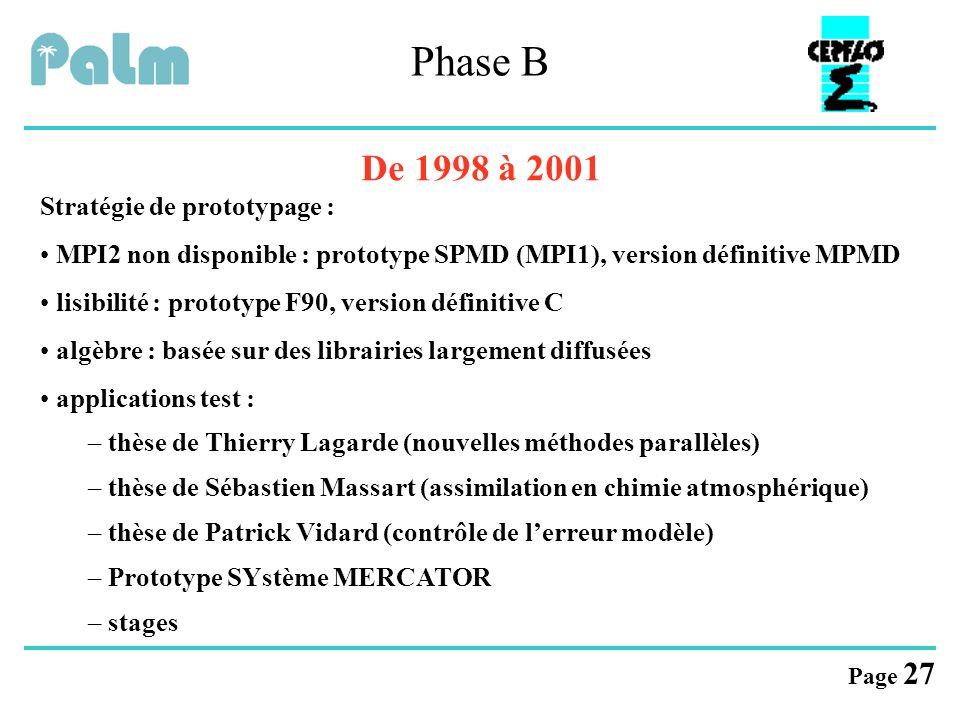 Page 27 Phase B De 1998 à 2001 Stratégie de prototypage : MPI2 non disponible : prototype SPMD (MPI1), version définitive MPMD lisibilité : prototype