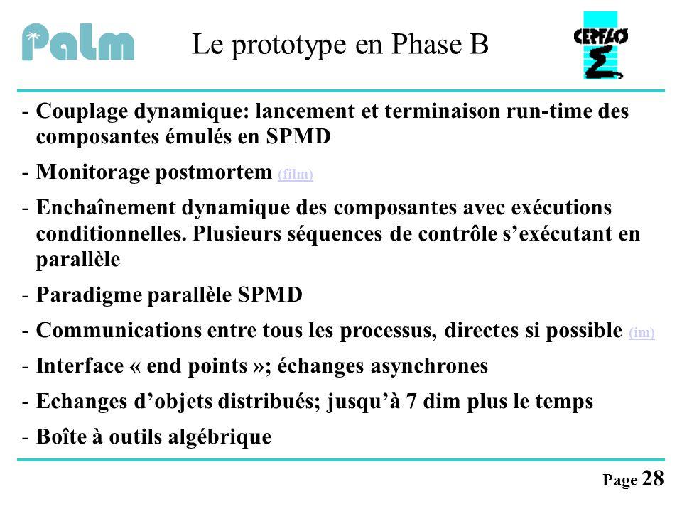 Page 28 Le prototype en Phase B -Couplage dynamique: lancement et terminaison run-time des composantes émulés en SPMD -Monitorage postmortem (film) (f
