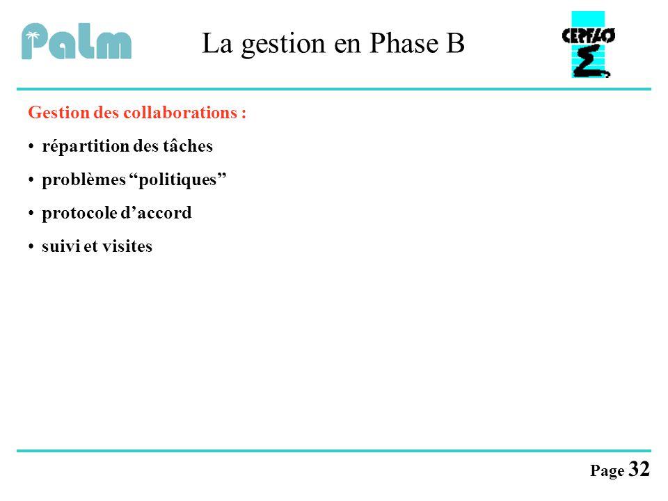 """Page 32 La gestion en Phase B Gestion des collaborations : répartition des tâches problèmes """"politiques"""" protocole d'accord suivi et visites"""