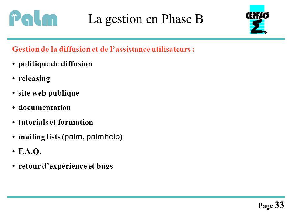 Page 33 La gestion en Phase B Gestion de la diffusion et de l'assistance utilisateurs : politique de diffusion releasing site web publique documentati