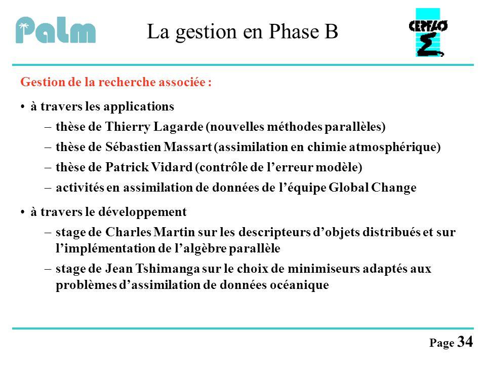 Page 34 La gestion en Phase B Gestion de la recherche associée : à travers les applications –thèse de Thierry Lagarde (nouvelles méthodes parallèles)