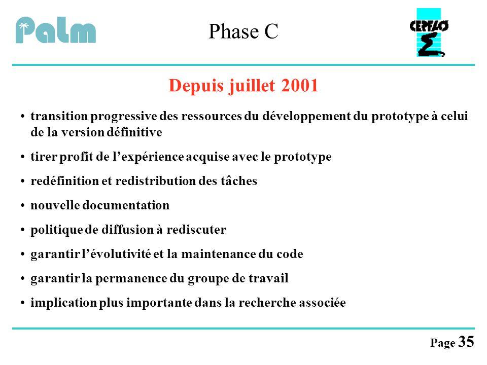 Page 35 Phase C Depuis juillet 2001 transition progressive des ressources du développement du prototype à celui de la version définitive tirer profit