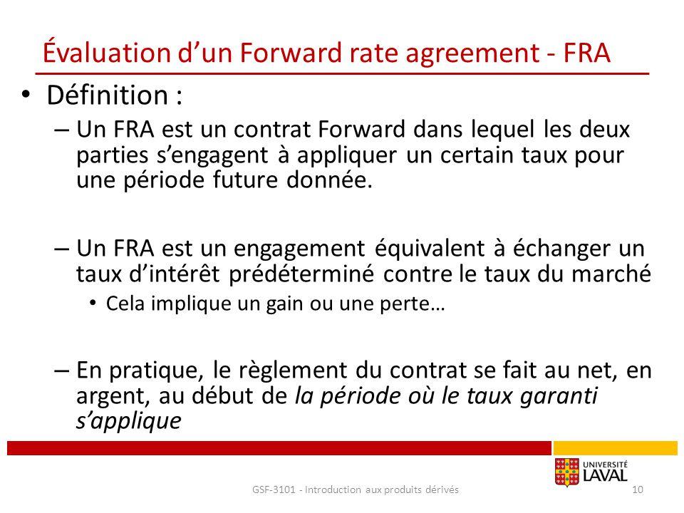 Évaluation d'un Forward rate agreement - FRA Définition : – Un FRA est un contrat Forward dans lequel les deux parties s'engagent à appliquer un certa