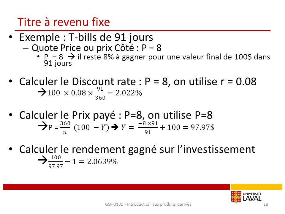 Titre à revenu fixe GSF-3101 - Introduction aux produits dérivés18