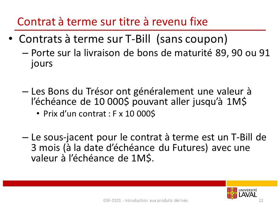 Contrat à terme sur titre à revenu fixe Contrats à terme sur T-Bill (sans coupon) – Porte sur la livraison de bons de maturité 89, 90 ou 91 jours – Le
