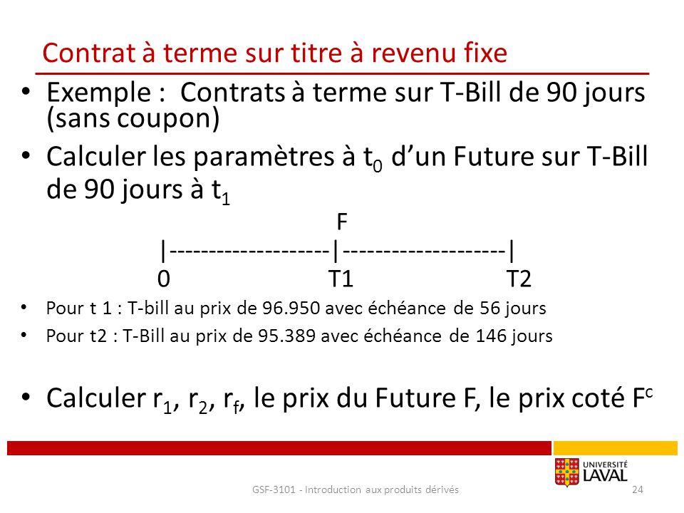 Contrat à terme sur titre à revenu fixe Exemple : Contrats à terme sur T-Bill de 90 jours (sans coupon) Calculer les paramètres à t 0 d'un Future sur