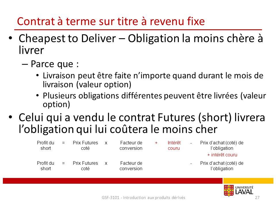 Contrat à terme sur titre à revenu fixe Cheapest to Deliver – Obligation la moins chère à livrer – Parce que : Livraison peut être faite n'importe qua