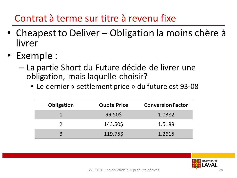 Contrat à terme sur titre à revenu fixe Cheapest to Deliver – Obligation la moins chère à livrer Exemple : – La partie Short du Future décide de livre