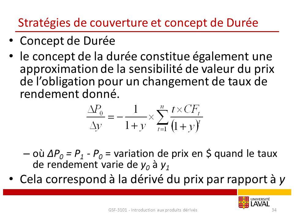 Stratégies de couverture et concept de Durée Concept de Durée le concept de la durée constitue également une approximation de la sensibilité de valeur