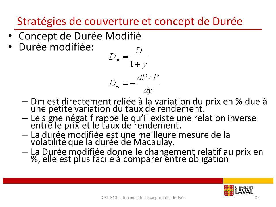 Stratégies de couverture et concept de Durée Concept de Durée Modifié Durée modifiée: – Dm est directement reliée à la variation du prix en % due à un