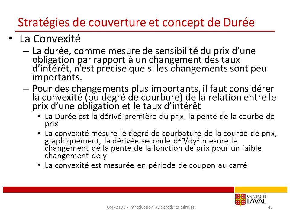Stratégies de couverture et concept de Durée La Convexité – La durée, comme mesure de sensibilité du prix d'une obligation par rapport à un changement