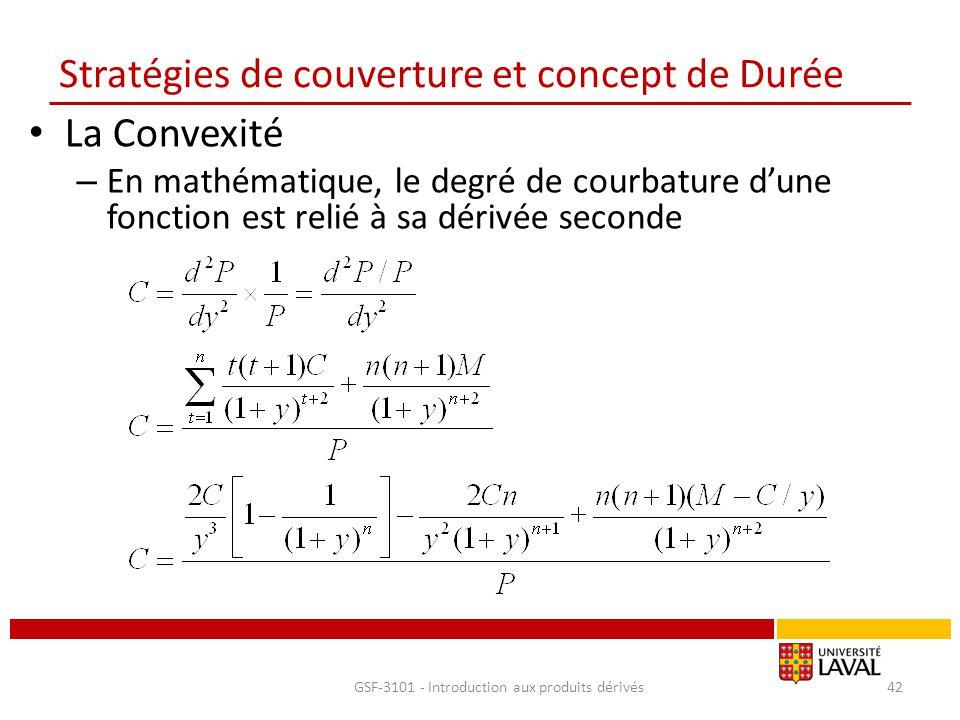 Stratégies de couverture et concept de Durée La Convexité – En mathématique, le degré de courbature d'une fonction est relié à sa dérivée seconde GSF-