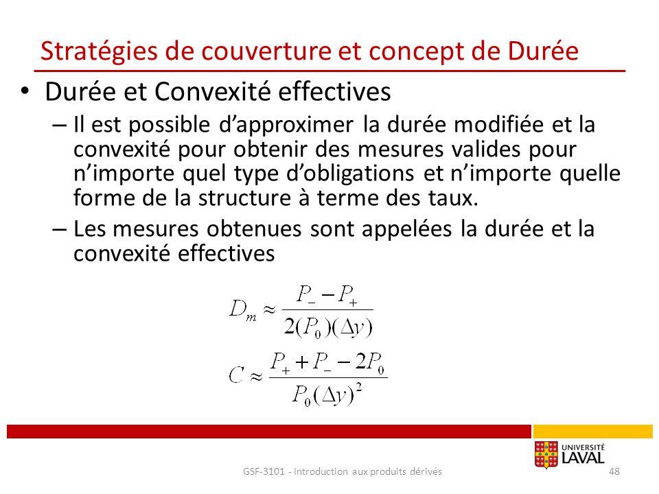 Stratégies de couverture et concept de Durée Durée et Convexité effectives – Il est possible d'approximer la durée modifiée et la convexité pour obten