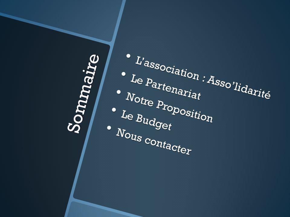 Sommaire L'association : Asso'lidarité L'association : Asso'lidarité Le Partenariat Le Partenariat Notre Proposition Notre Proposition Le Budget Le Bu