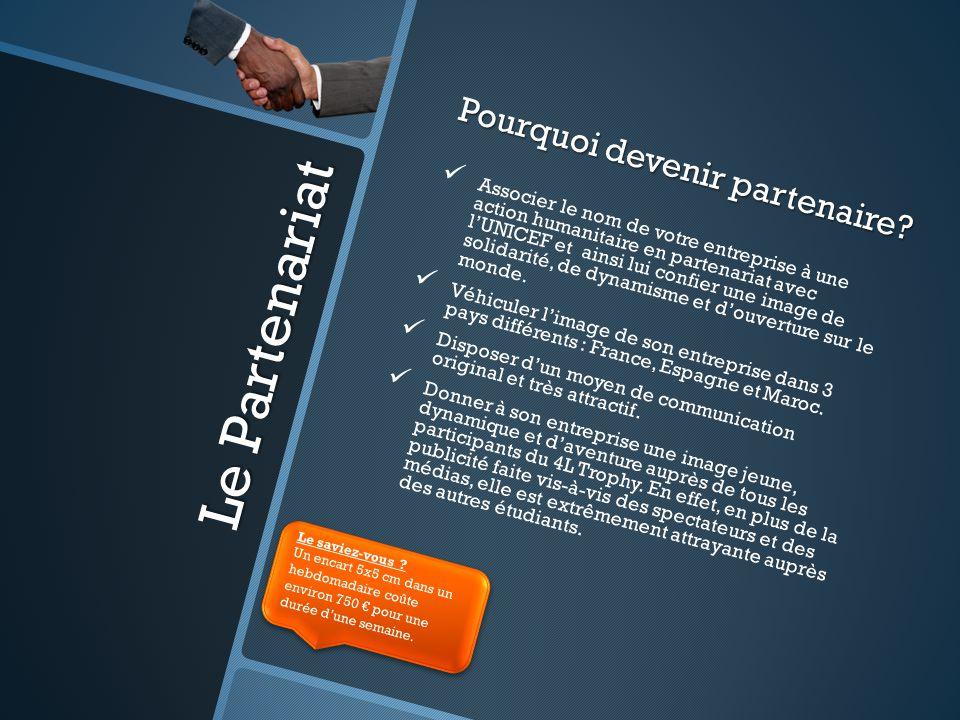 Le Partenariat Pourquoi devenir partenaire? Associer le nom de votre entreprise à une action humanitaire en partenariat avec l'UNICEF et ainsi lui con