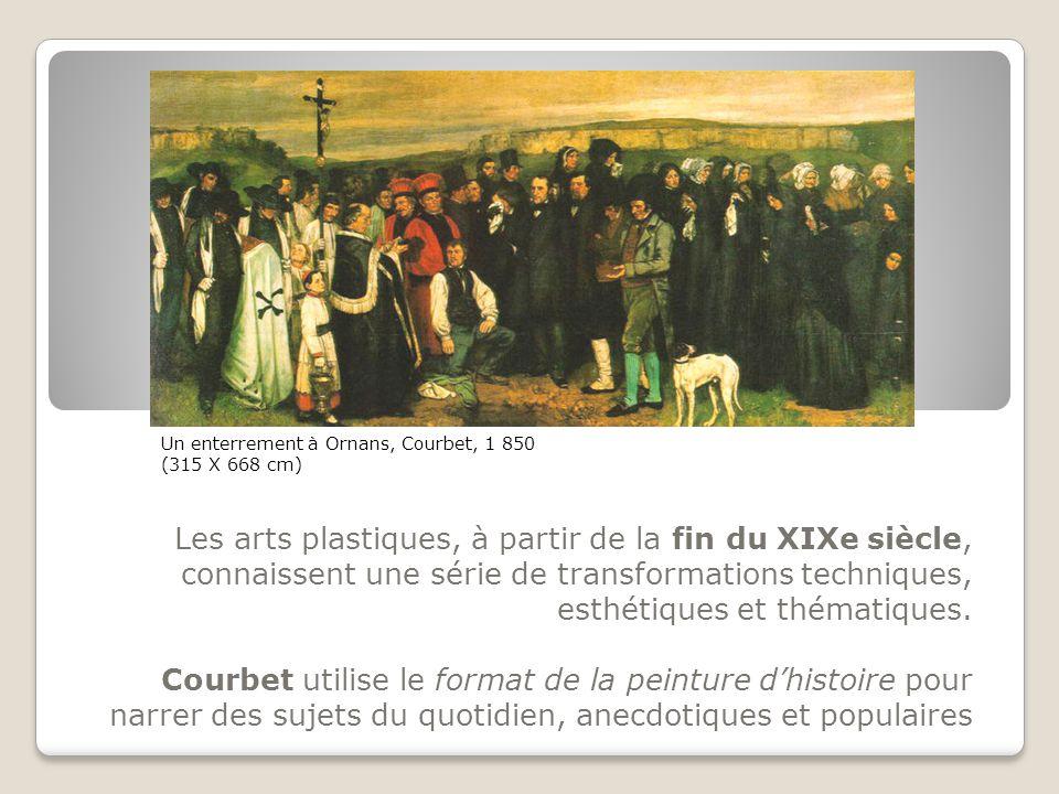 Les arts plastiques, à partir de la fin du XIXe siècle, connaissent une série de transformations techniques, esthétiques et thématiques. Courbet utili