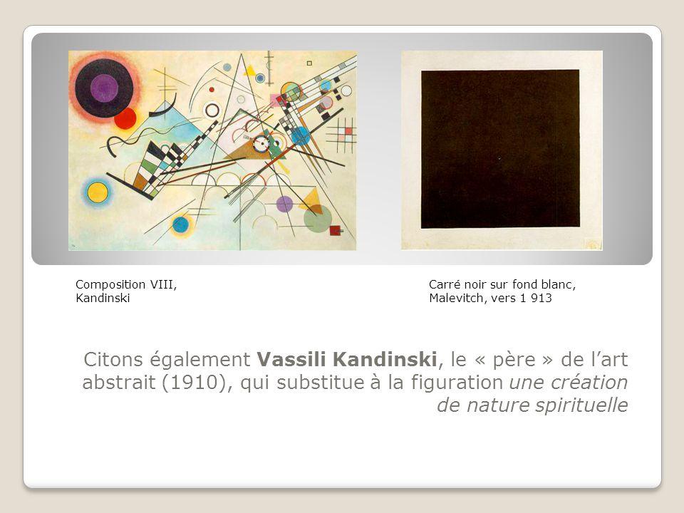 Citons également Vassili Kandinski, le « père » de l'art abstrait (1910), qui substitue à la figuration une création de nature spirituelle Composition