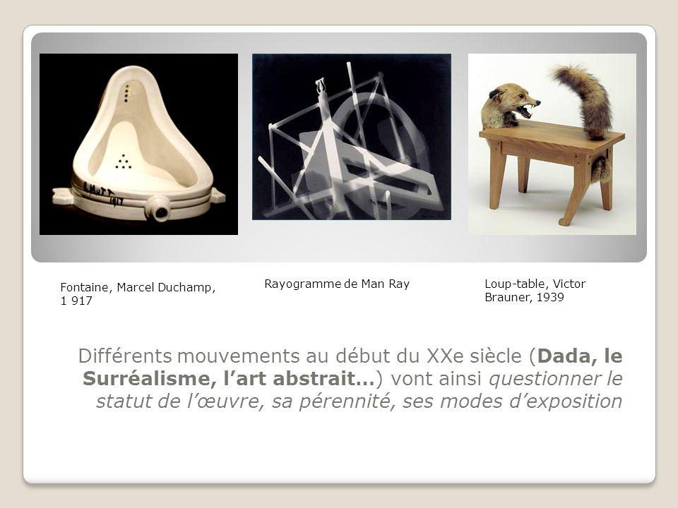 Différents mouvements au début du XXe siècle (Dada, le Surréalisme, l'art abstrait…) vont ainsi questionner le statut de l'œuvre, sa pérennité, ses mo
