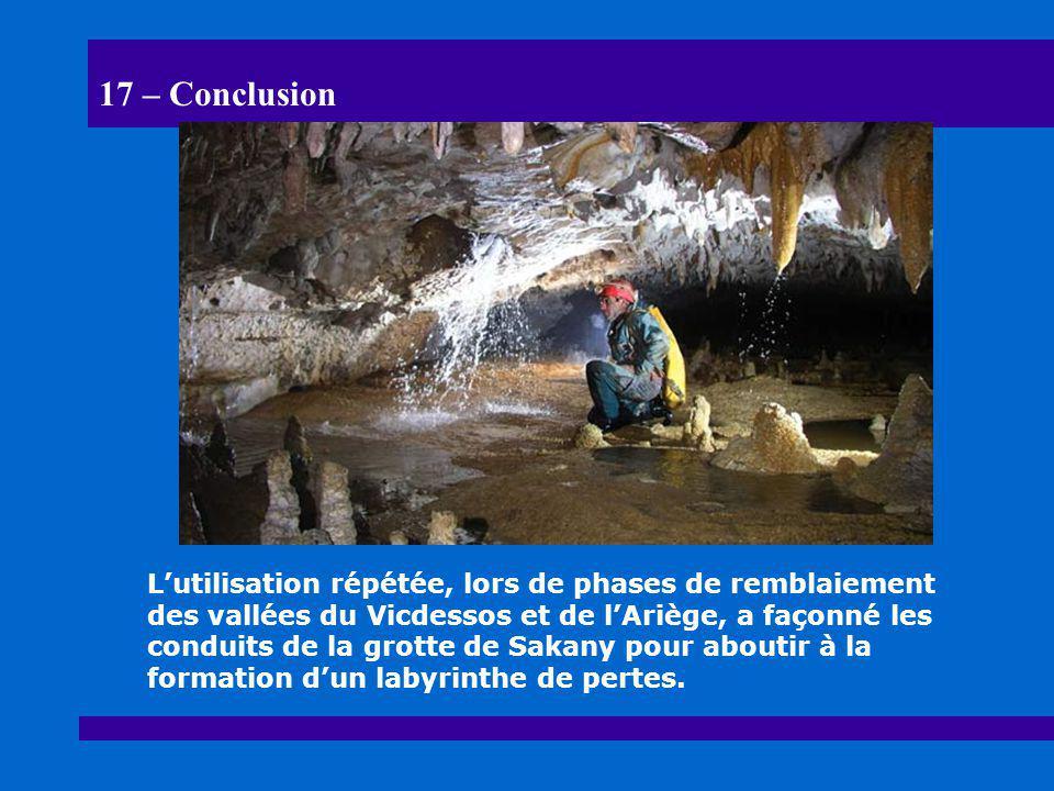 17 – Conclusion L'utilisation répétée, lors de phases de remblaiement des vallées du Vicdessos et de l'Ariège, a façonné les conduits de la grotte de
