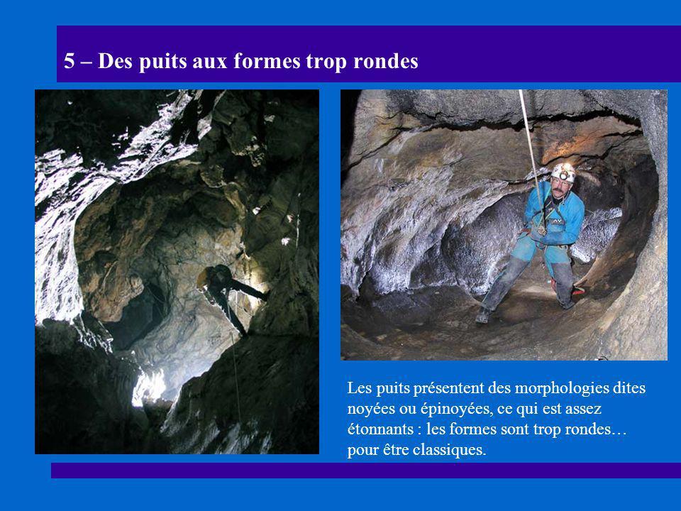 5 – Des puits aux formes trop rondes Les puits présentent des morphologies dites noyées ou épinoyées, ce qui est assez étonnants : les formes sont tro
