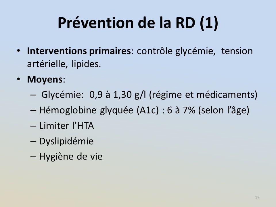 Prévention de la RD (1) Interventions primaires: contrôle glycémie, tension artérielle, lipides. Moyens: – Glycémie: 0,9 à 1,30 g/l (régime et médicam