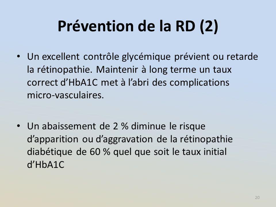 Prévention de la RD (2) Un excellent contrôle glycémique prévient ou retarde la rétinopathie. Maintenir à long terme un taux correct d'HbA1C met à l'a