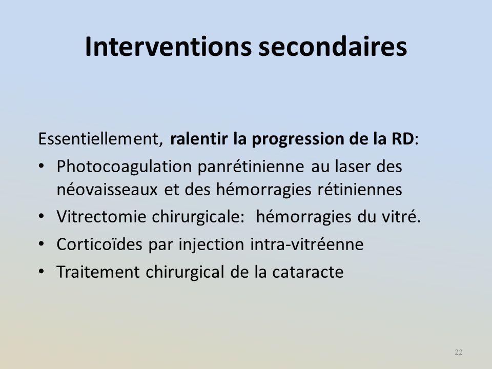 Interventions secondaires Essentiellement, ralentir la progression de la RD: Photocoagulation panrétinienne au laser des néovaisseaux et des hémorragi