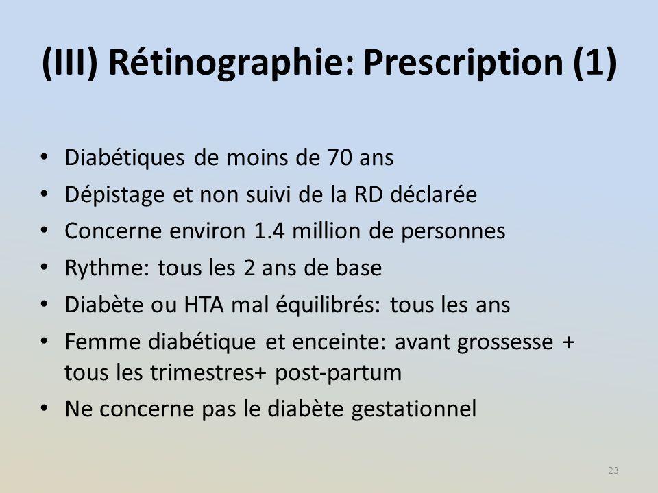 (III) Rétinographie: Prescription (1) Diabétiques de moins de 70 ans Dépistage et non suivi de la RD déclarée Concerne environ 1.4 million de personne