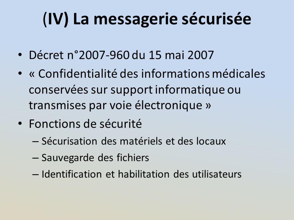 (IV) La messagerie sécurisée Décret n°2007-960 du 15 mai 2007 « Confidentialité des informations médicales conservées sur support informatique ou tran