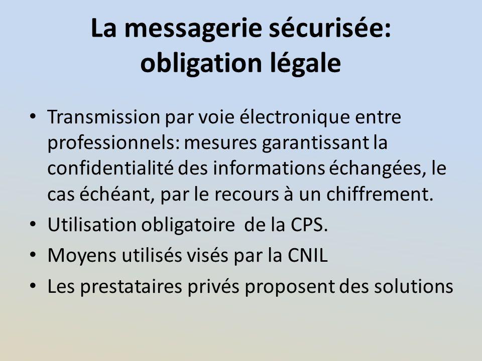 La messagerie sécurisée: obligation légale Transmission par voie électronique entre professionnels: mesures garantissant la confidentialité des inform