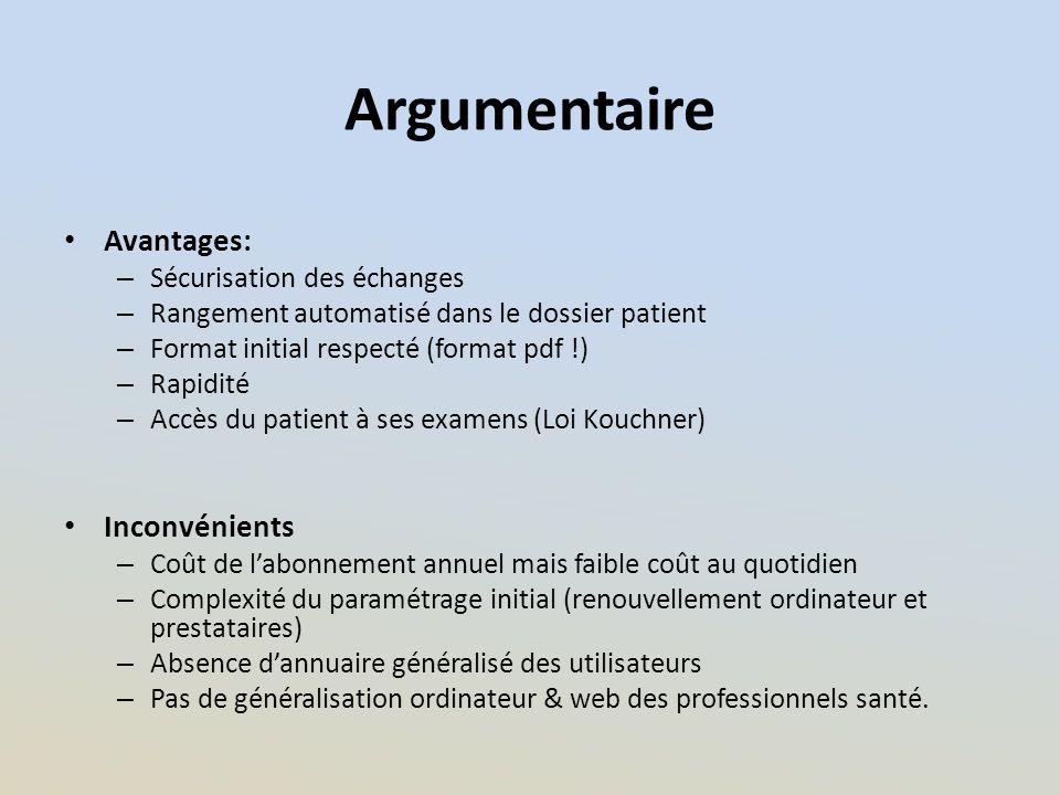 Argumentaire Avantages: – Sécurisation des échanges – Rangement automatisé dans le dossier patient – Format initial respecté (format pdf !) – Rapidité